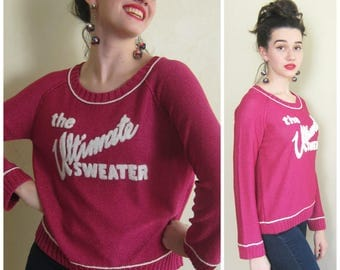 Vintage 1990s Sonia Rykiel Sweater in Hot Pink Lurex with Logo / 90s Designer The Ultimate Sweater in Pink Metallic Sparkle / Small