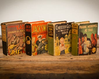 1930s Big Little Book Lot of Four, Vintage 30s, Captain Easy, Jack Swift, Frank Merriwell, Chester Gump, Comic Fiction Adventure Stories