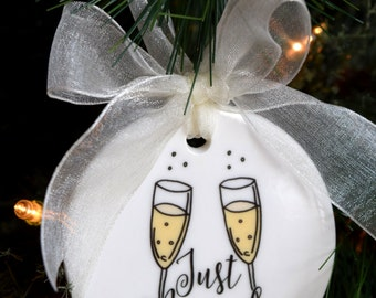 Just Married Christmas Ornament, Our First Christmas Ornament, wedding gift, just married ornament, Xmas Decorations, Holiday Gift