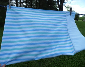 Tastemaker vintage standard pillowcase blue and green striped with solid blue hem 42 x 36 for pillow or repurpose