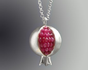 Pomegranate Necklace - Pink Sapphire Pendant - Pomegranate Pendant - Pomegranate Silver Necklace - pomegranate jewelry - Sapphire Necklace