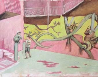 Street scene, an original oil painting on canvas