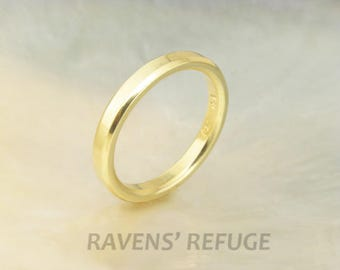 yellow gold wedding band -- 3mm flat band with beveled edges, 18k gold