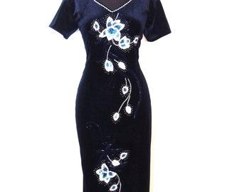 vintage velvet dress - early 90s navy velvet sequined/beaded long dress