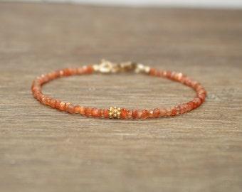 Sunstone Bracelet, Sunstone Jewelry, Vermeil Beads, Gemstone Bracelet, Gifts for her