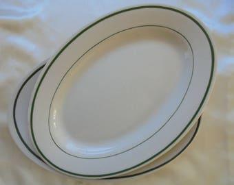 vintage restaurant ware oval platters green stripe Buffalo China kitchen diner pair lot 2 midcentury