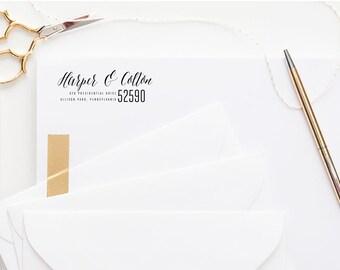 Return Address Stamp with handwritten font - self inking stamp or wood block stamp for wedding gift or housewarming  Custom Address Stamp