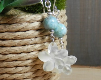 Mother of Pearl Plumeria Bloom and Larimar Sterling Silver Earrings