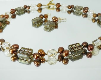 Bronze Freshwater Pearl and Czech Glass Necklace with Gold Toggle Clasp and Matching Earrings