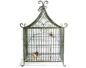 """Antique French Wrought Iron Pagoda Birdcage - Vintage Chinoiserie Decorative Metal Bird Cage - Large 24"""""""