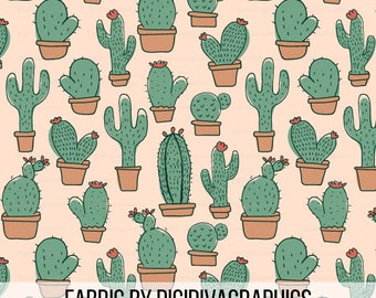 Cactus Fabric by the Yard - Cacti Succulents Nursery Print in Yards & Fat Quarter
