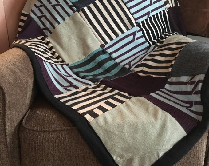 "My ""Bold Stripes!"" Wool Sweater Quilt — I can make one similar for you!"