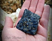 Rare Large Cobalt Blue Covellite Copper Mineral Crystal with Pyrite From Leonard Mine, in Butte Montana