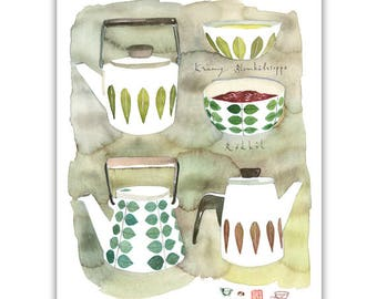 Scandinavian retro kitchenware watercolor painting, Cathrineholm, Swedish design, Retro Kitchen Art print, Midcentury modern poster, Neutral
