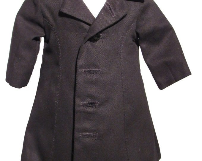light weight lined Black coat fits dolls 18 inch dolls. coll weather outer wear black dress coat