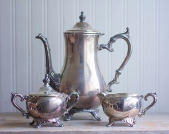 Vintage Silver Tea Set, Silver Plated Tea, Cream and Sugar Bowl, Silver Teapot, Fancy Tea Party, Elegant Farmhouse Chic