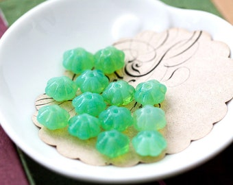 Vintage Flower Beads Green Opal Glass 10mm, Jewelry Making Bead Supplies
