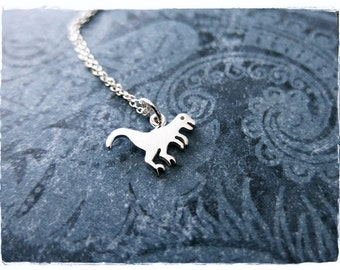 Tiny T-Rex Necklace - Sterling Silver T-Rex Charm on a Delicate Sterling Silver Cable Chain or Charm Only