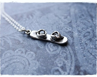 Silver Snowboard Necklace - Sterling Silver Snowboard Charm on a Delicate Sterling Silver Cable Chain or Charm Only
