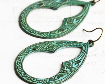 Large Teardrop Earrings, Hand Patina Earrings, Big Earrings, Green Dangle Earrings, Boho Chic Jewelry, Patina Jewelry