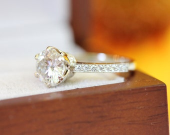 7mm FB Moissanite engagement ring, 6 prong, diamond band gold ring