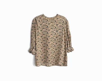 Vintage Floral Silk Blouse in Dusty Peach / Floral Print Blouse / 90s Silk Blouse - women's large