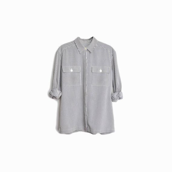 Vintage 90s Striped Boy Shirt in Black & White / Long Sleeve Blouse - women's 8 / medium