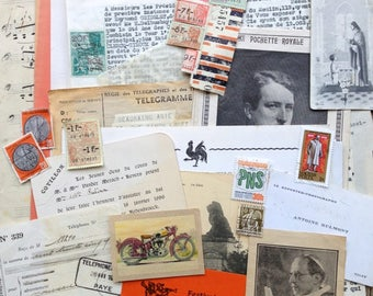 The ultimate antique orange and beige paper inspiration pack. Supply for collage, scrapbooking, mail art and mixed media crafters.