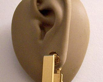 Square Hoops Clip On Earrings Gold Tone Vintage Avon 1976 Geometric Collection Wide Polished Band Open Dangles