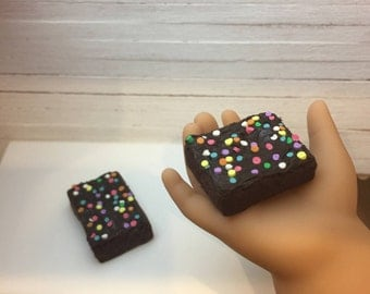 Miniature Dollhouse Frosted brownies with sprinkles for American Girls AG 18 inch doll food 1:3 scale