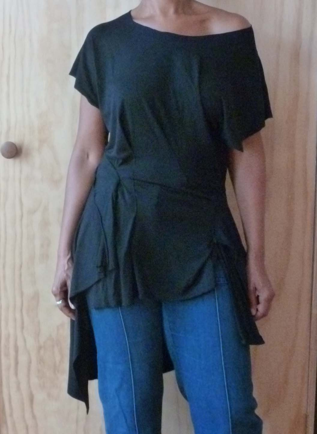 Black drape back top /raw cut,uneven hemline/raw edges/funky and flattering designed by Cheryl Johnston for Cheryldine