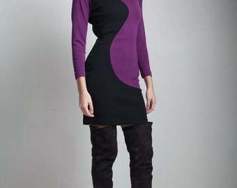 vintage 80s bodycon dress long sleeves color block fitted purple black knit dress SMALL S