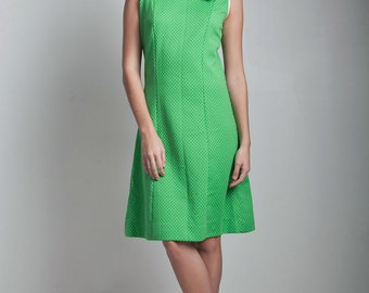 vintage 70s panel dress green white polka dot sleeveless knee length MEDIUM M