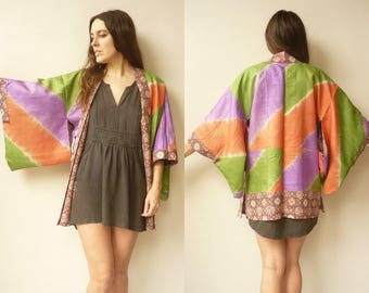 1970's Vintage Reversible Rayon Ombre Dyed & Floral Japanese Kimono Duster Jacket Haori
