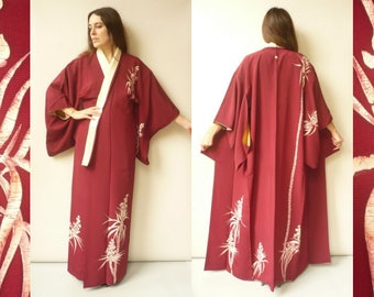 Vintage Japanese Deco Floral Print Full Length Crepe Kimono Robe Duster Jacket