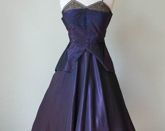 1950s New Look Iridescent Party / Occasion Dress with Layered Pleated Bust / Beads and Appliques / Sculptural Peplum / Small-Medium