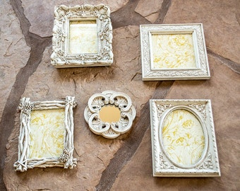 Picture Frame Wall Arrangement Set of Four with One Tiny Mirror Aged White
