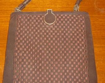 Vintage Saks Fifth Avenue Basket Weave Brown Suede Purse //Vintage Mini Purse Evening Bag 1950's