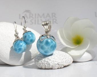 AAA Larimar set by Larimarandsilver, Caribbean Carnival 5 - London blue Larimar balls turtleback blue pearl handmade Larimar pendant earring
