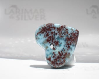 Larimar bead from Larimarandsilver, Love Coral 7 - burgundy aqua Larimar heart, red coral pattern stone, dendritic heart handmade heart bead