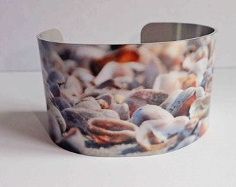 """Aluminum Cuff, Beach Jewelry,  Seashells, Beach Colors, Wearable Art, Statement Jewelry, Gifts for her, 1.5"""" Wide, Unique Adjustable Cuff"""