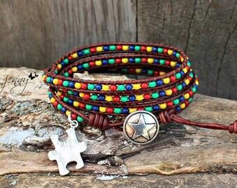 Leather Wrap Bracelet, Autism, Autisms Awareness, Seed Bead Leather Wrap Bracelet, Wrap Bracelet, Leather Beaded Wrap Bracelet, J2