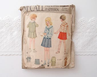 1920s McCall Printed pattern young girls Sailor Dress drop waist pleated skirt short or long sleeve size 10 original sewing Printo Gravure