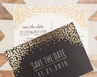 Gold Baubles Save the Date Postcard