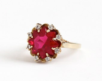 Vintage 10k Rosy Yellow Gold Created Ruby & Created Spinel Halo Ring - Retro 1950s Size 7 3/4 Red White Fancy Cut Gem Fine Statement Jewelry