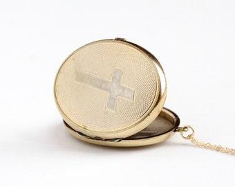 Sale - Antique 10k Gold Filled Cross Locket Necklace - Vintage Victorian Edwardian Religious Catholic Large Pendant Fob Charm Jewelry