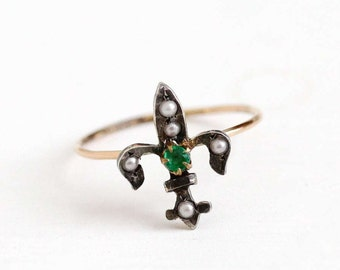 Sale - Antique 10k Yellow Gold & Silver Fleur De Lis Ring - Vintage Art Deco Simulated Emerald Seed Pearl Stick Pin Conversion Fine Jewelry