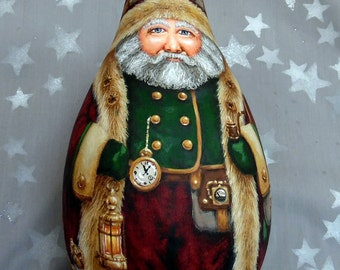 """Victorian Steampunk, Reserved for Christine, Santa Claus gourd, hand painted, 11 1/4"""" tall"""