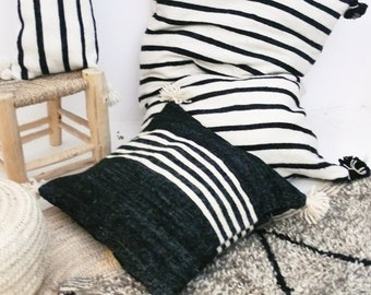 Giant Wool Floor Cushion - Black Pompoms - Black Stripes