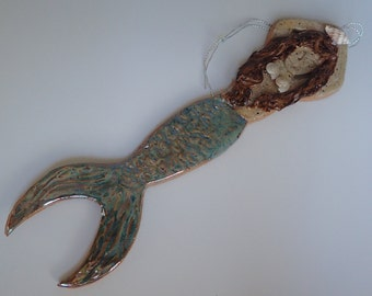 Handmade Stoneware Clay Mermaid Ornament in Green